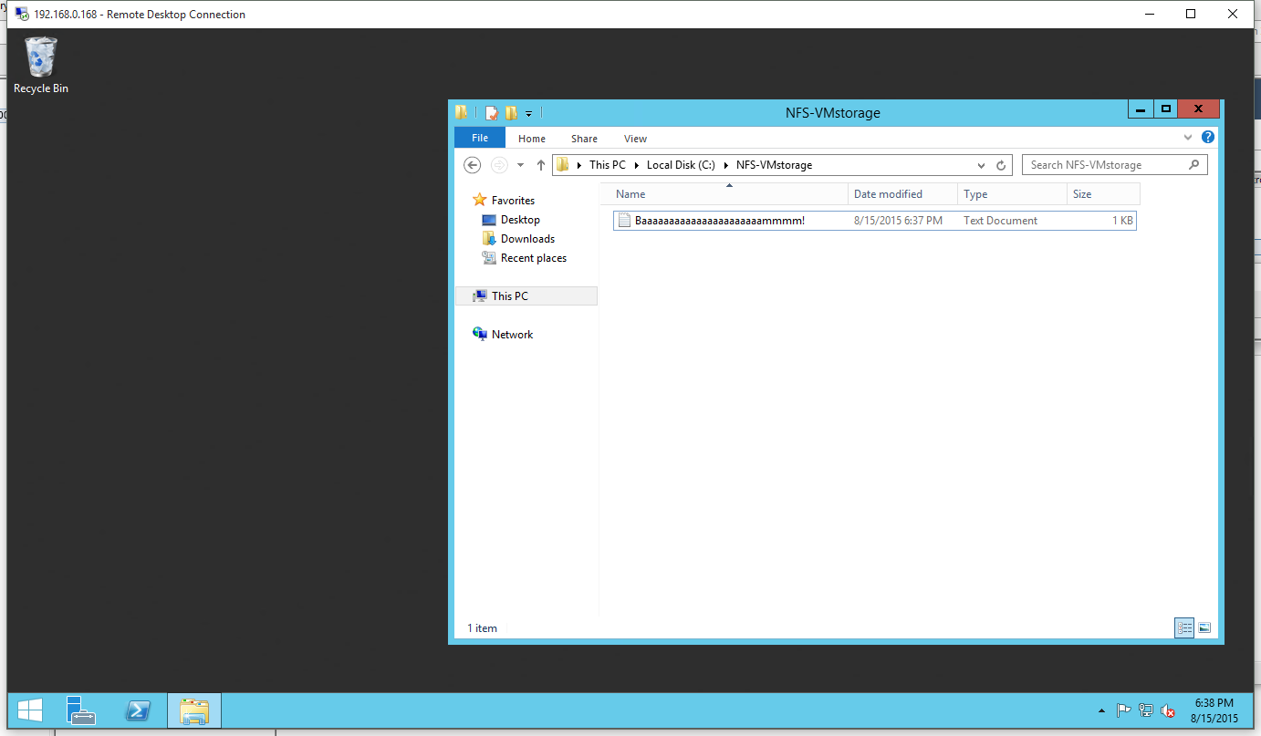 How to create an ESX Datastore from a Windows NFS Share